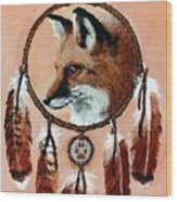 Fox Medicine Wheel Wood Print by Brandy Woods