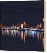Fox River Green Bay At Night Wood Print