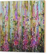 Foxgloves Large Painting Wood Print