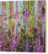 Foxgloves Panel Two Wood Print