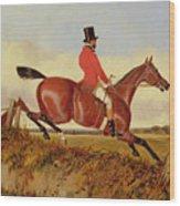 Foxhunting - Clearing A Bank Wood Print