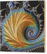 Fractal Art - Blue And Gold Wood Print