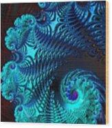 Fractal Art - Blue Wave Wood Print