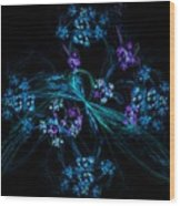 Fractal Forget Me Not Bouquet  Wood Print