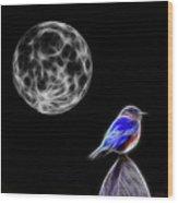 Fractal Moon And Bluebird Wood Print