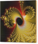 Fractal Spiral Art Yellow Red Metal Effect Wood Print