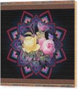 Framed Rose Bouquet Montage Wood Print