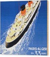 France Cruise Vintage Travel Poster Restored Wood Print