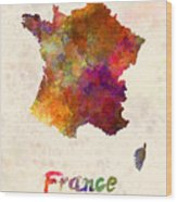 France In Watercolor Wood Print