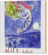 France Nice Soleil Fleurs Vintage 1961 Travel Poster By Marc Chagall Wood Print