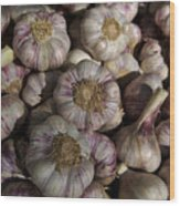 France, Paris Sunday Market Garlic Wood Print