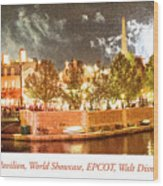 France Pavilion At Night With Fireworks, Epcot, Walt Disney Worl Wood Print