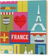 France Vertical Scene - Collage Wood Print