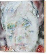 Francis Bacon - Watercolor Portrait.2 Wood Print