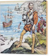 Francis Drake And The Golden Hind Wood Print by Ron Embleton