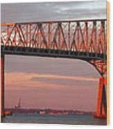 Francis Scott Key Bridge At Sunset Baltimore Maryland Wood Print