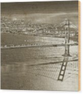 Francisco Sky Line Vintage  Wood Print