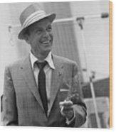 Frank Sinatra In Studio  Wood Print