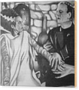 Frankenstein And His Bride Wood Print