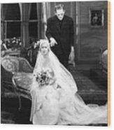 Frankenstein Monster Sneaks Up On Bride 1931 Movie Wood Print