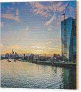Frankfurt Am Main Skyline At Sunset Wood Print