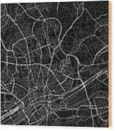 Frankfurt Germany Dark Map Wood Print