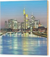 Frankfurt  Night Skyline Wood Print