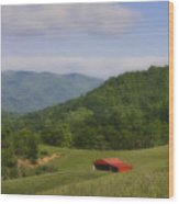 Franklin County Virginia Red Barn Wood Print by Teresa Mucha
