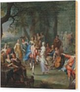 Franz Christoph Janneck Graz 1703-1761 Vienna A Dance In The Palace Gardens, Wood Print
