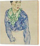 Frauenbildnis Mit Blauem Und Grunem Wood Print