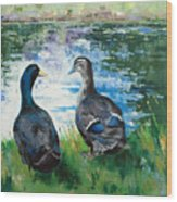 Fred And Ethel At Scott's Pond Wood Print