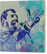 Freddie Mercury Queen Wood Print by Naxart Studio