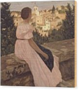 Frederic Bazille   The Pink Dress Wood Print