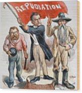 Free Silver Cartoon, 1896 Wood Print