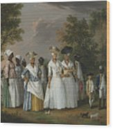 Free Women Of Color With Their Children And Servants In A Landscape Wood Print