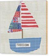 Freedom Boat- Art By Linda Woods Wood Print