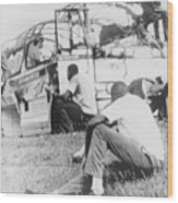 Freedom Riders Bus Was Destroyed Wood Print by Everett