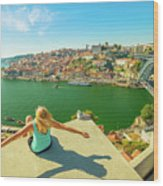 Freedom Woman At Douro River Wood Print