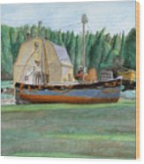 Freeport Fishing Boat Wood Print