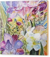 Freesias  Wood Print by Therese AbouNader