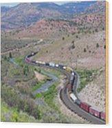 Freight Snaking Through Price Canyon Utah Wood Print