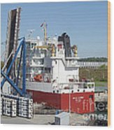 Freighter In Lock Of Saint Lawrence Wood Print