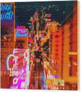 Fremont Street For One From The Heart Wood Print