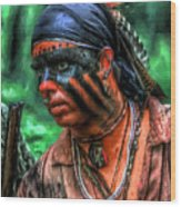 French And Indian War Indian Warrior Wood Print by Randy Steele
