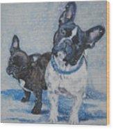 French Bulldog Mom And Pup Wood Print