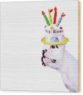 French Bulldog With Birthday Cake Wood Print