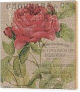 French Burlap Floral 1 Wood Print