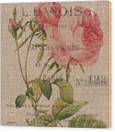 French Burlap Floral 2 Wood Print