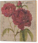 French Burlap Floral 3 Wood Print