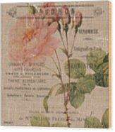 French Burlap Floral 4 Wood Print